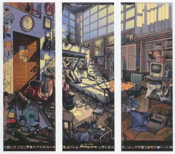 Triptico de habitación desordenada Arly Jones